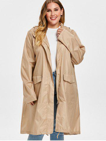 Front Pockets Plus Size Hooded Raincoat