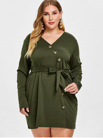 Plus Size Button Long Sleeve Belted Dress