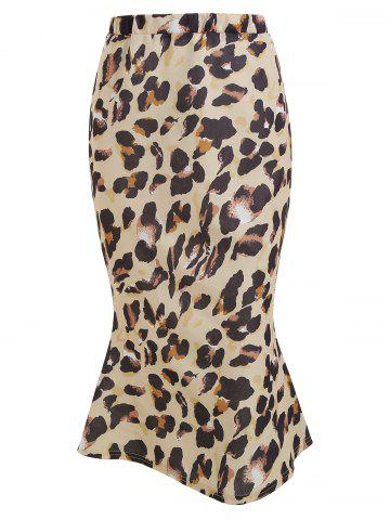 Leopard Print Knee Length Skirt