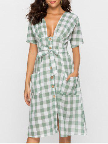 Plunging Neck Button Belt Checked Dress