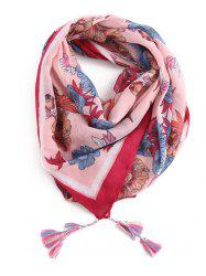 Fringed Decoration Floral Printed Scarf -