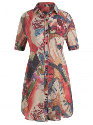 Plus Size Patterned Shirt Dress -