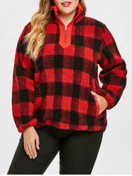 Plus Size Half Zipper Plaid Fuzzy Sweatshirt -
