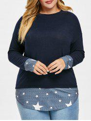 Plus Size High Low Patchwork Tunic Knit Top -