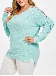Plus Size Lace Up High Low Chunky Sweater -