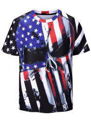 American Flag Printed Short Sleeves T-shirt -