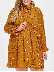 Plus Size Tie Collar Tiny Flower Dress -