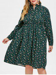 Plus Size Ruffle Floral Flare Dress -
