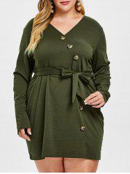 Plus Size Button Long Sleeve Belted Dress -