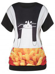 Plus Size Printed Pocketed T Shirt -