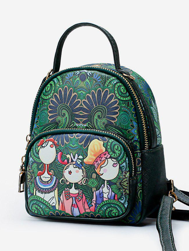 Unique Forest Funny Print PU Leather Backpack