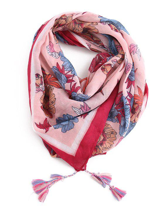 Fancy Fringed Decoration Floral Printed Scarf