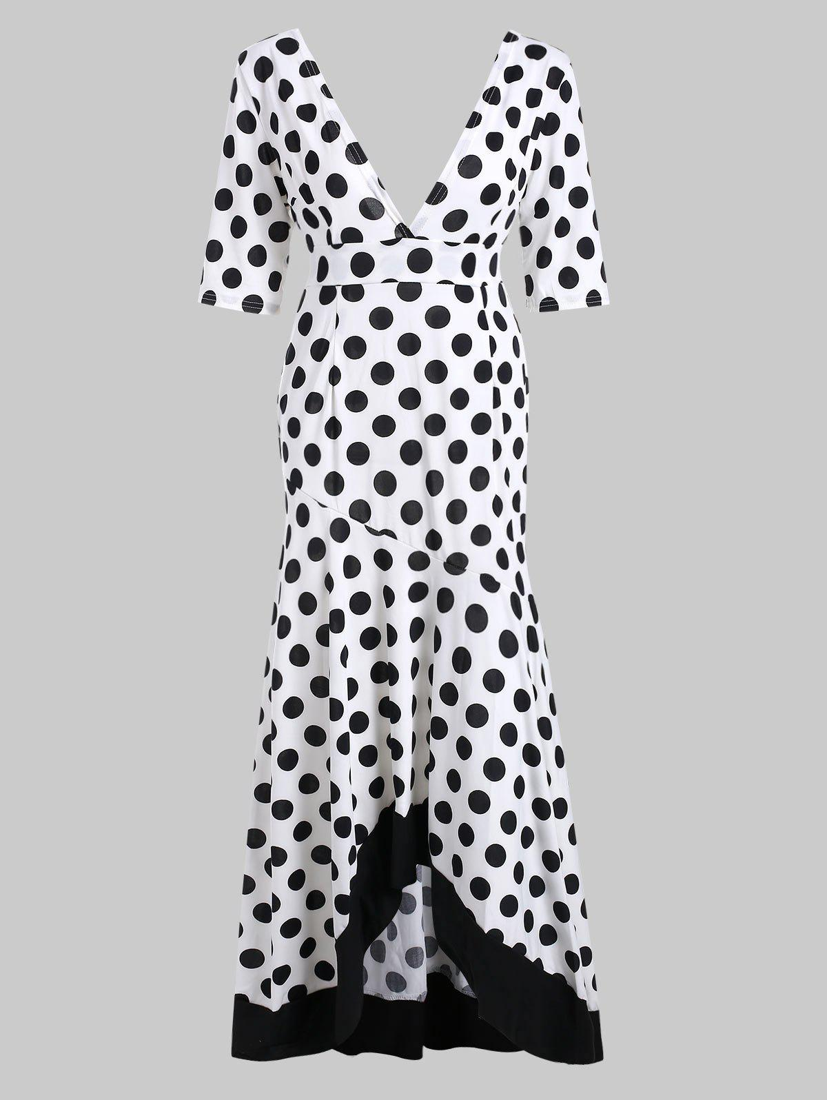 Chic Polka Dot Deep V Neck Dress