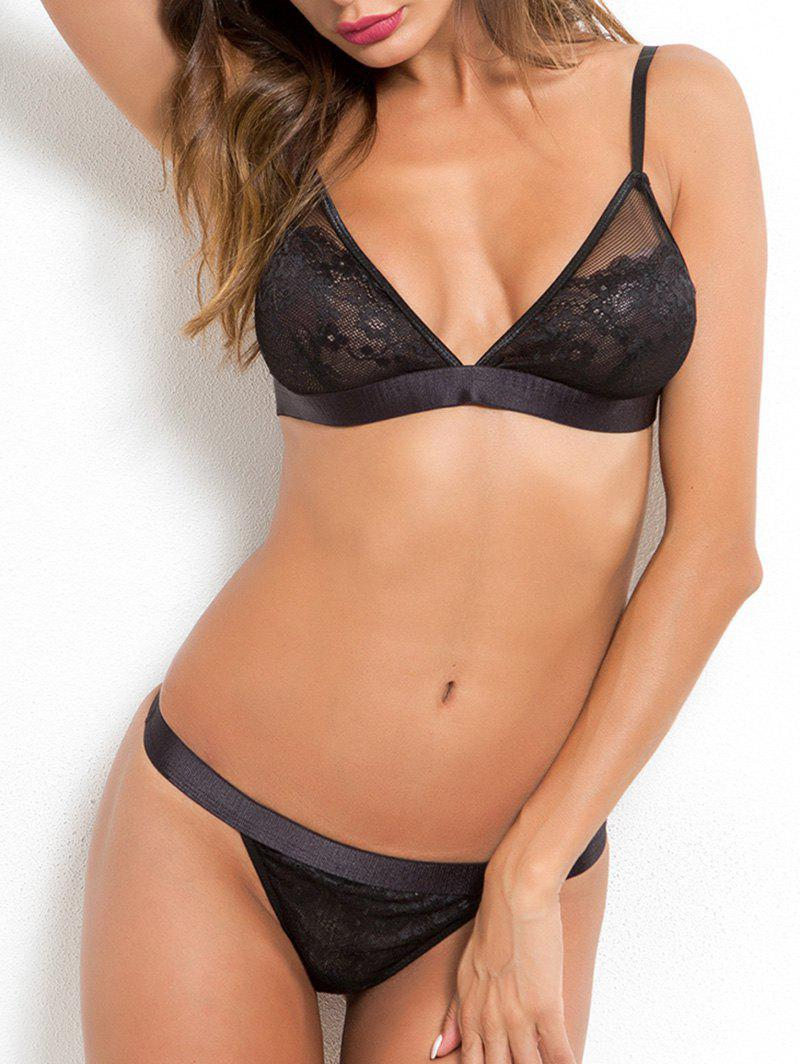 Discount Lace Sheer Spaghetti Strap Bra Set