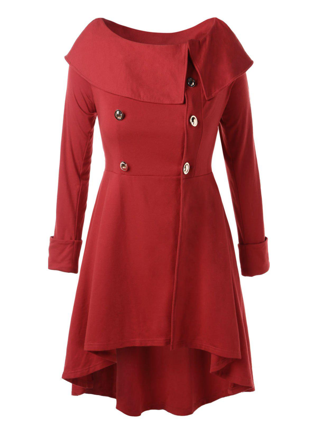 Unique Button Detail Plus Size High Low Coat
