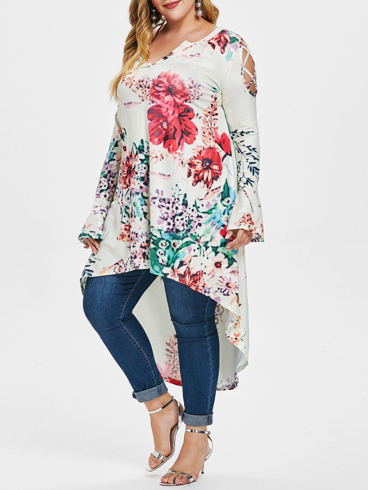 Outfits Floral Print Plus Size High Low V Neck T-shirt