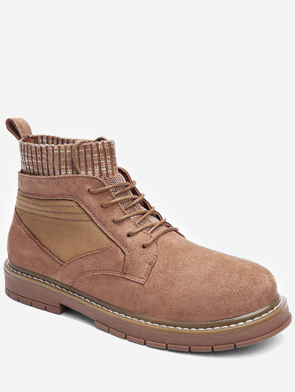Cheap Round Toe Patch Sock Boots