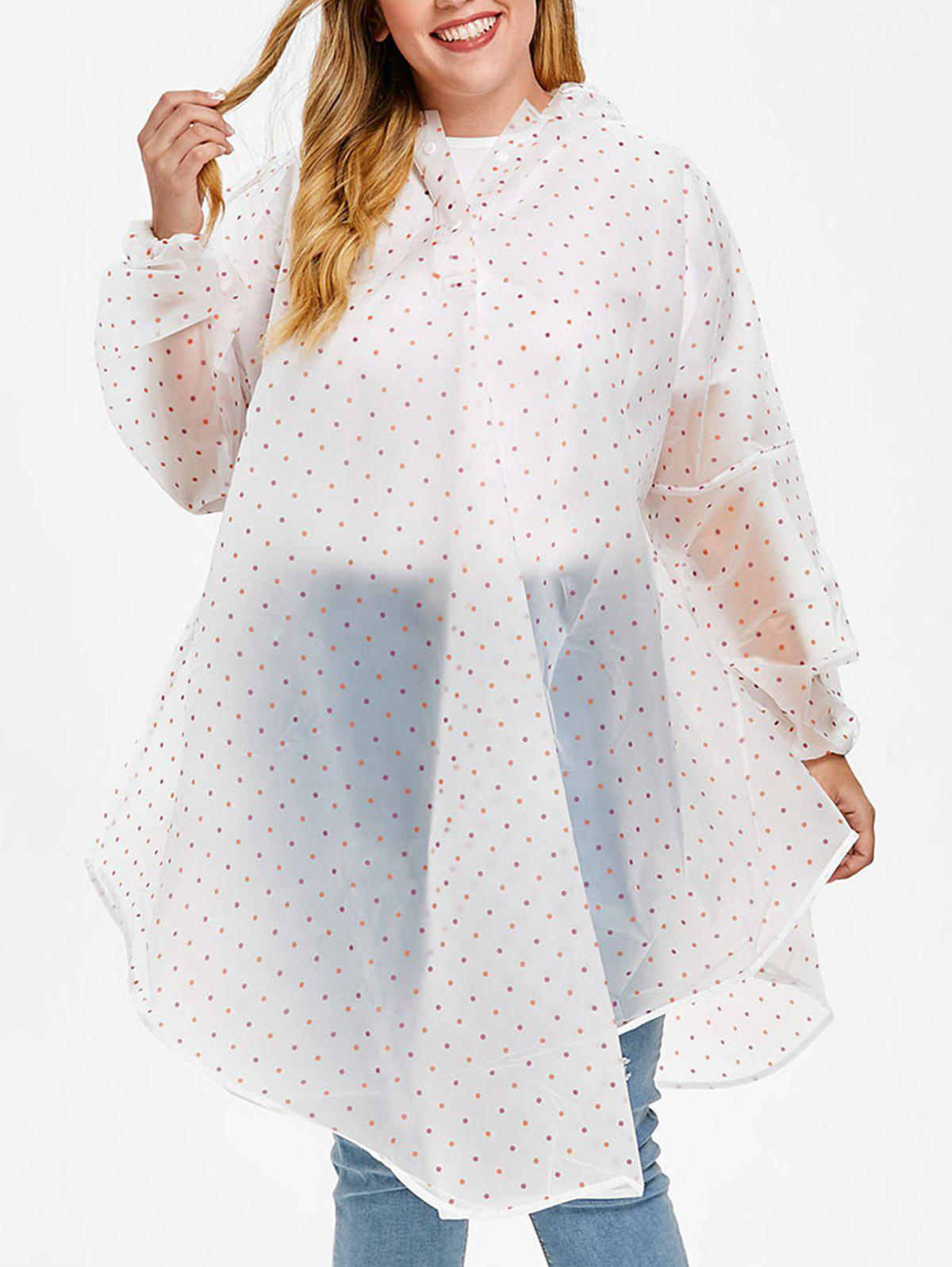 91ffde15f0234 Cheap Contrast Trim Plus Size Trim Polka Dot Raincoat