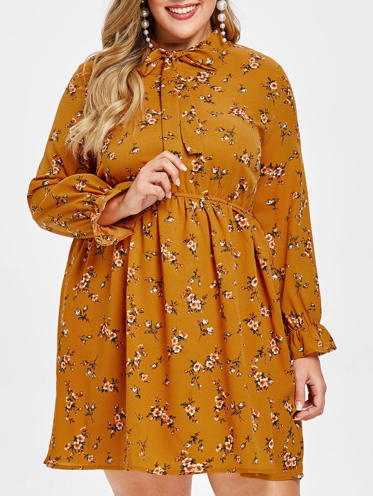 Store Plus Size Tie Collar Tiny Flower Dress