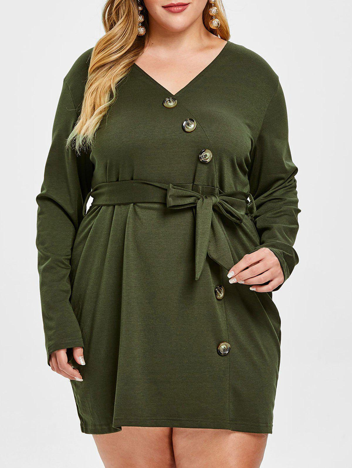 Sale Plus Size Button Long Sleeve Belted Dress