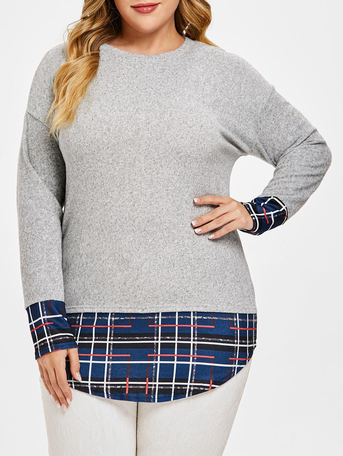 Fancy Plus Size High Low Patchwork Tunic Knit Top