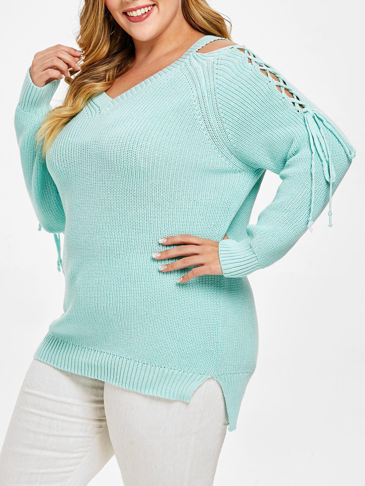 Outfits Plus Size Lace Up High Low Chunky Sweater
