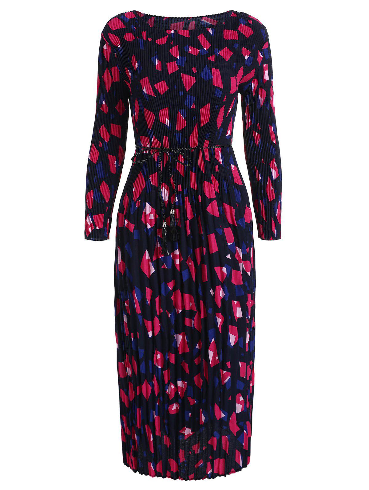 Fancy Geometric Print Pleated Belted Dress