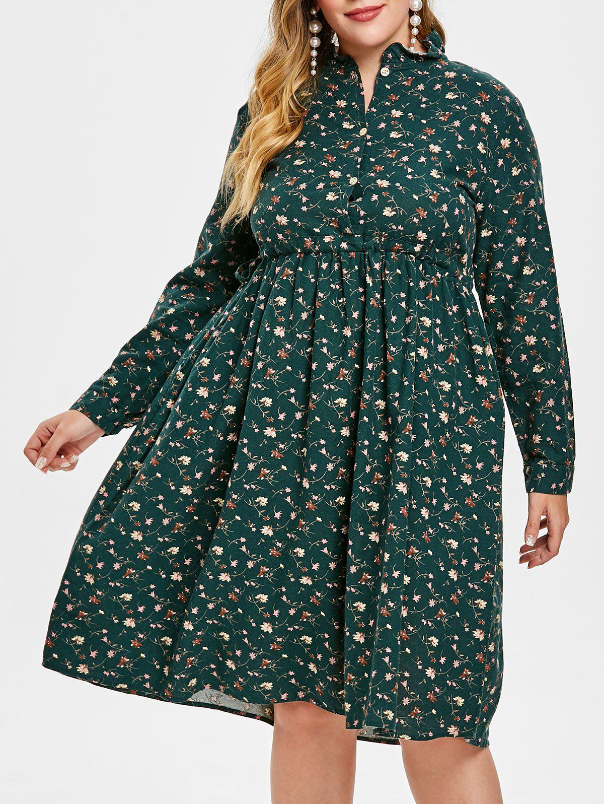 Hot Plus Size Ruffle Floral Flare Dress