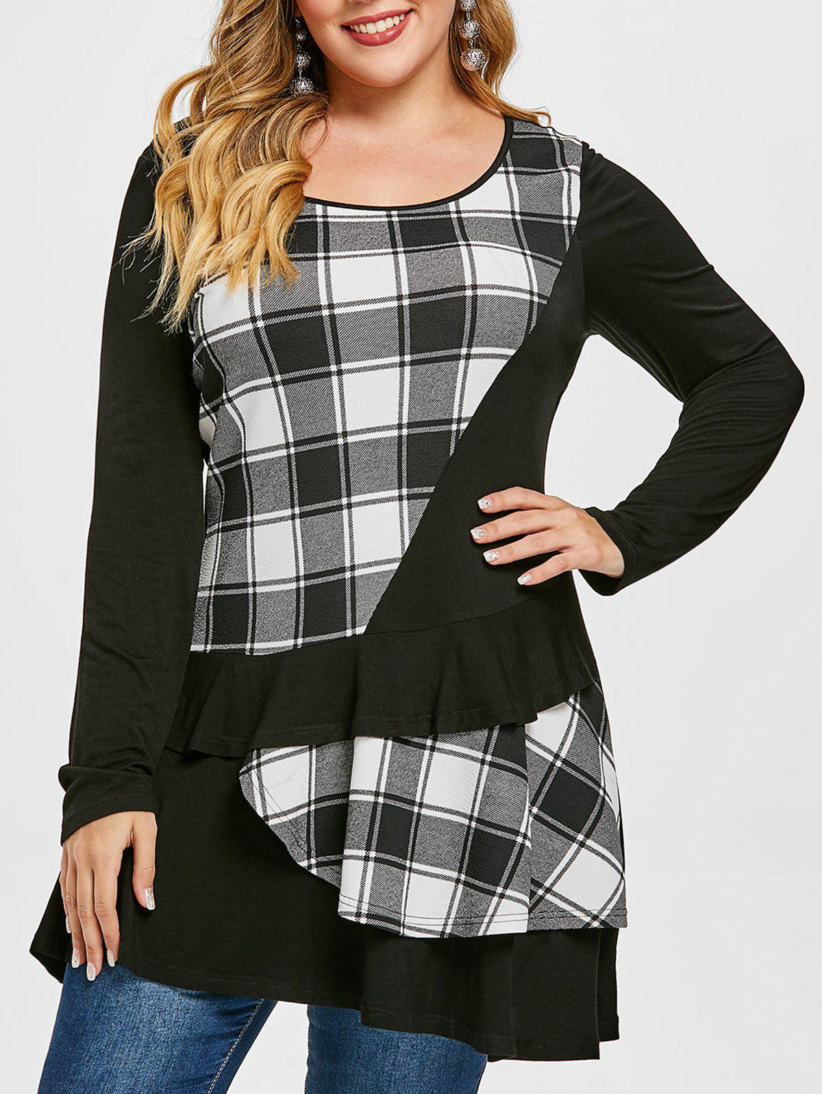 Fashion Plus Size Plaid Layered Ruffle T-shirt