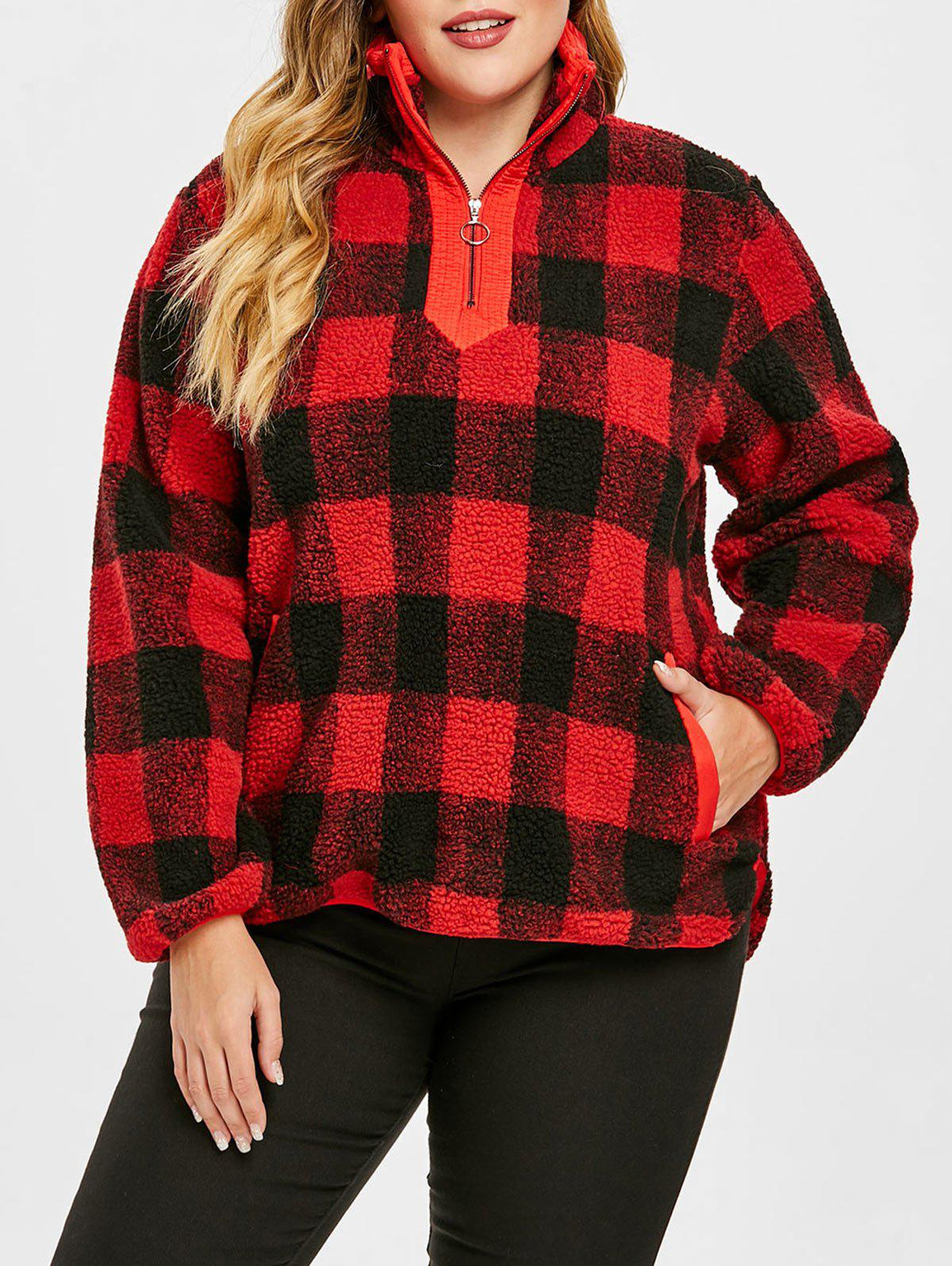 Discount Plus Size Half Zipper Plaid Fuzzy Sweatshirt