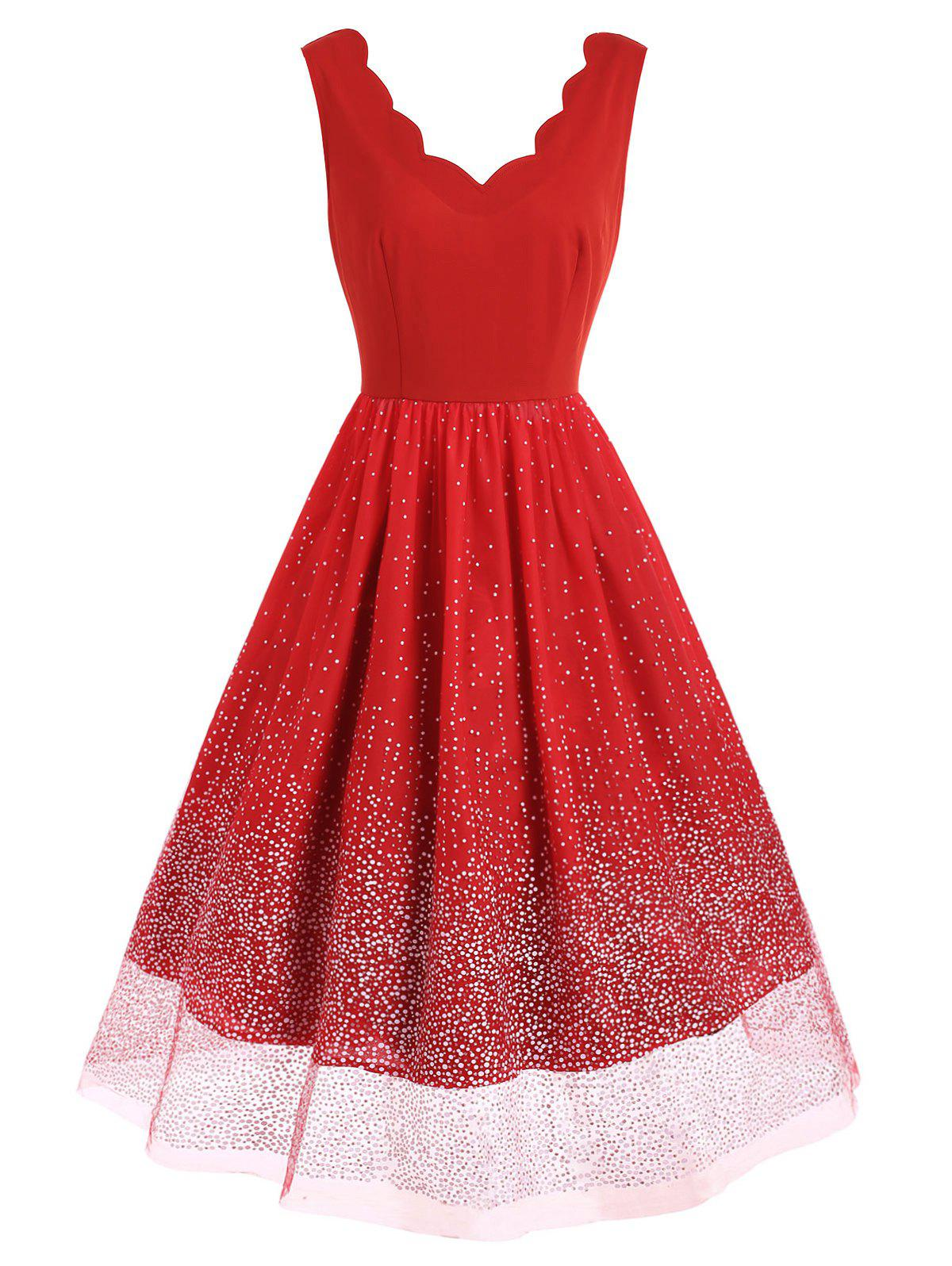 Affordable Scalloped Snow Pattern Sleeveless Flare Dress