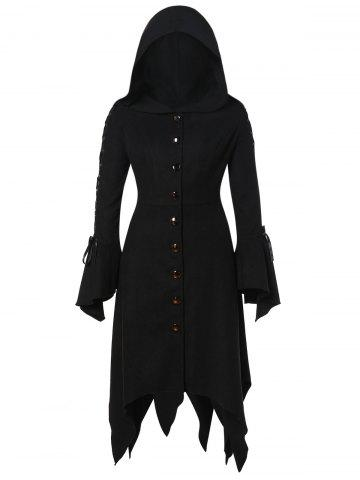 Hooded Lace Up Asymmetrical Plus Size Coat