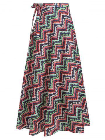 Zig Zag Print High Slit Skirt