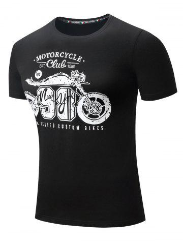 Motorcycle Letter Graphic Printed Short Sleeve T-shirt