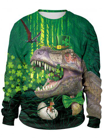 Sweat-shirt imprimé de plantes et de dinosaures en 3D - MEDIUM FOREST GREEN - M
