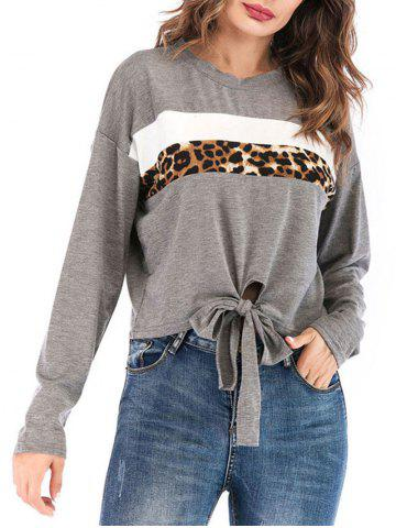 Leopard Print Knotted Long Sleeve Top