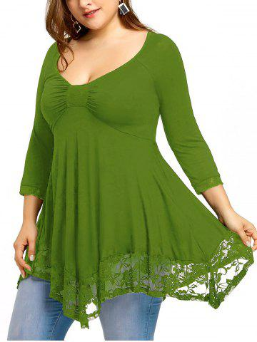 8096c31858e Plus Size Empire Waist Lace Trim Handkerchief T-shirt
