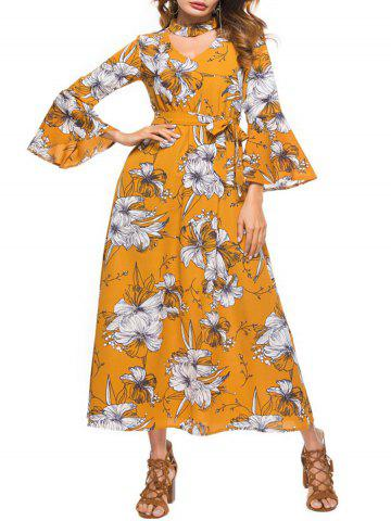 Flare Sleeve Floral Print Cut Out Dress