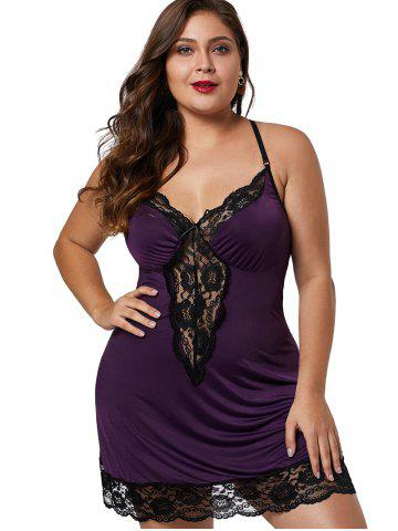 dc26a456db Lace Hem See Through Plus Size Babydoll
