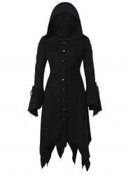 Hooded Lace Up Asymmetrical Plus Size Coat -