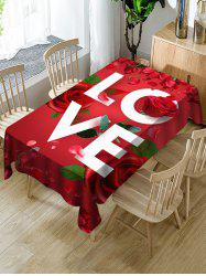 Valentines Day LOVE Rose Print Fabric Waterproof Tablecloth -