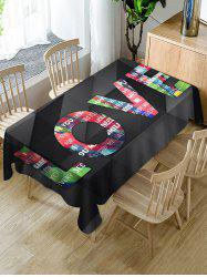 Valentines Day LOVE Print Fabric Waterproof Tablecloth -