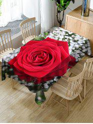 Valentines Day Rose Pattern Fabric Waterproof Tablecloth -