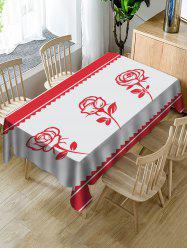 Rose Valentines Day Pattern Fabric Waterproof Tablecloth -