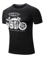 Motorcycle Letter Graphic Printed Short Sleeve T-shirt -