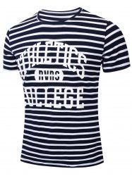 Casual Letter Striped Printed Short Sleeve T-shirt -