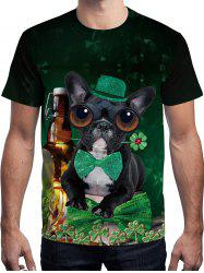 3D Dog Printed Short Sleeve T-shirt -