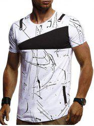Short Sleeves Lines Panel Casual T Shirt -