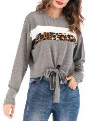 Leopard Print Knotted Long Sleeve Top -
