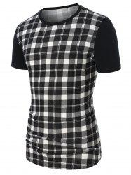 Checked Print Short Sleeve Tee -